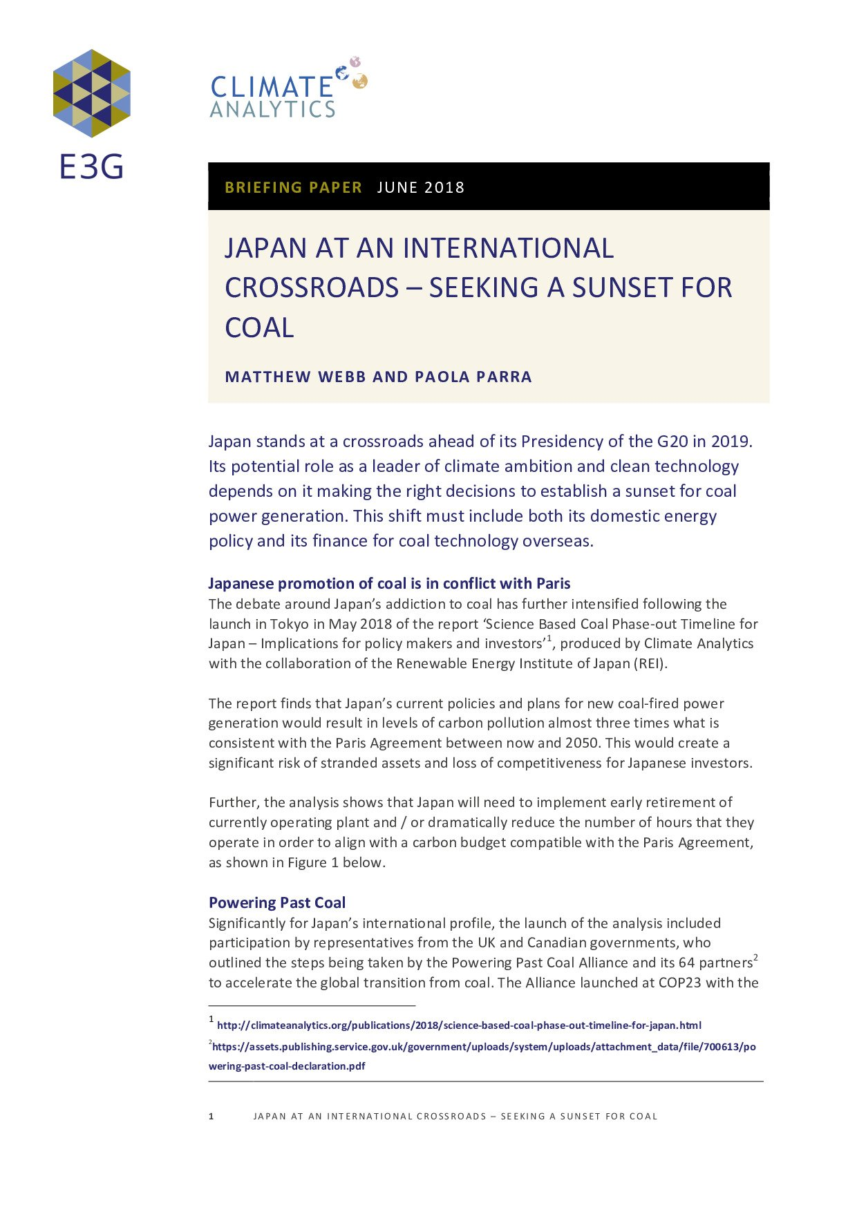 Japan At An International Crossroads Seeking A Sunset For Coal