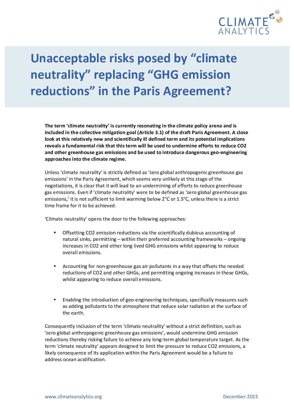 Unacceptable Risks Posed By Climate Neutrality Replacing Ghg