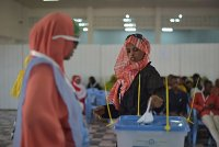 A woman casts her vote in an election in Somaliland.