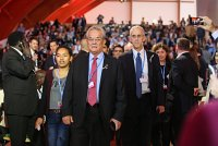 Tony de Brum walks into the plenary in Paris, with US Climate Envoy Todd Stern, as part of the High Ambition Coalition that helped bring about a strong Paris Agreement.