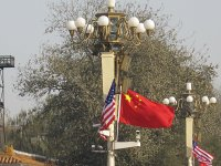 US and China flags, Beijing.