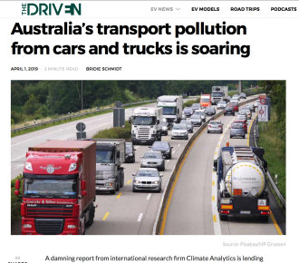 Australia's transport pollution from cars and trucks is soaring