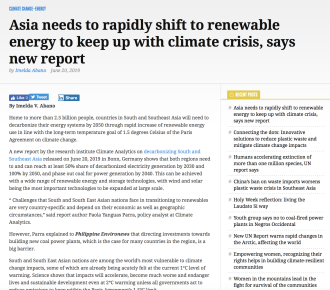 Asia needs to rapidly shift to renewable energy to keep up with climate crisis, says new report