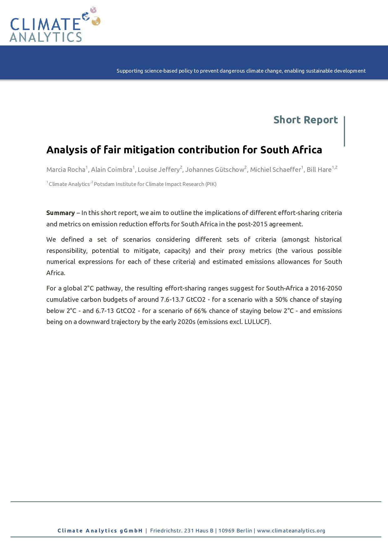 Analysis Of Fair Mitigation Contribution For South Africa Climate