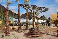 Solar tree installation at Marrakech climate talks site.