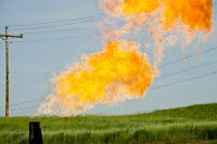 Natural gas flare, North Dakota.