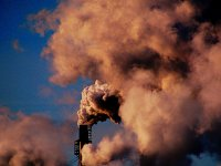 Pollution. A large stack from the Sault Paper Mill.