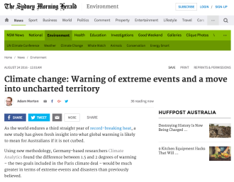 Climate change: Warning of extreme events and a move into uncharted territory