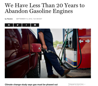 We Have Less Than 20 Years to Abandon Gasoline Engines