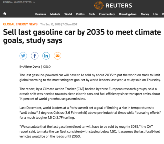Sell last gasoline car by 2035 to meet climate goals, study says