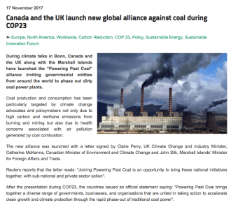 Canada and the UK launch new global alliance against coal during COP23