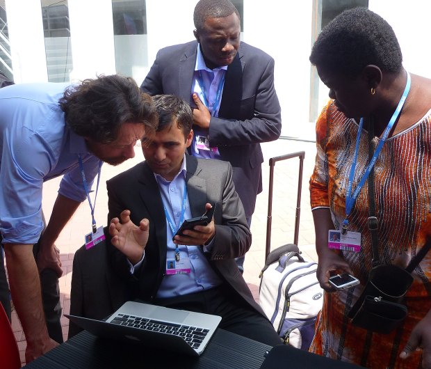 Implementation Team Leader Sandra Freitas (right) with Gilbert Balo, Manjeet Dhakal and Science director Michiel Schaeffer at COP20 in Lima.